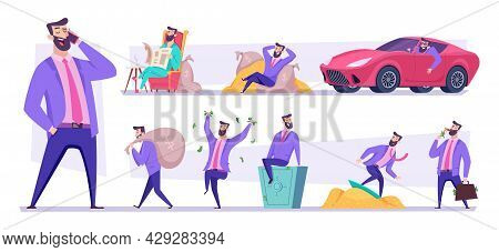 Rich Businessman. Happy Dollar Millionaire Holding Money And Golden Coins In Various Poses Exact Vec