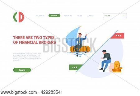 Financial Crisis Landing Page. Business Loses Money Office Fail Risk Sad Persons Web Pages Templates