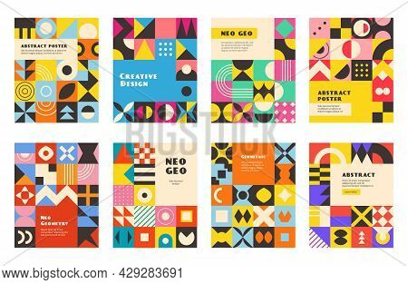 Neo Geo Geometry. Poster Design With Abstract Style Geometry Colored Shapes Triangles Oval Circles S
