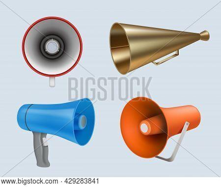 Megaphone. Marketing Loud Speaker Communication Realistic Alarm Horns Decent Vector Megaphones Colle