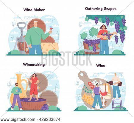 Wine Maker Concept Set. Grape Wine In A Wood Barrel, Bottle Of A Red Wine