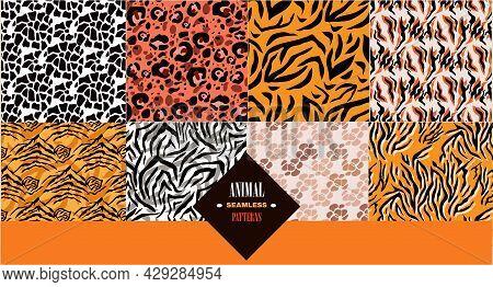 Set Of The Skin Abstract  African  Seamless Patterns N Cartoon Flat Style. Zebra;  Jaguar; Leopard;