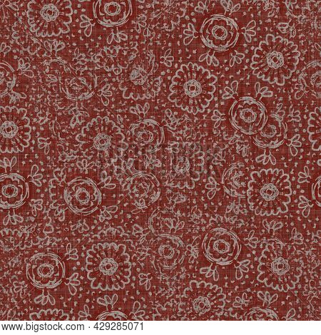 Seamless French Floral Farmhouse Woven Linen Texture. Two Tone Red Shabby Chic Pattern Background. M