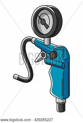 Illustration Of Car Tire Inflation Pump. Auto Center Repair Item. Business Icon.