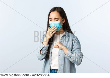 Social Distancing Lifestyle, Covid-19 Pandemic Everyday Life And Leisure Concept. Asian Girl With Po