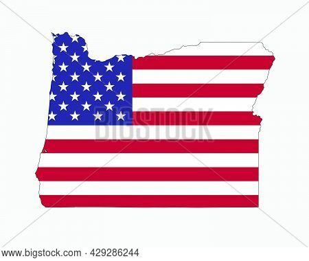 Oregon Map On American Flag. Or, Usa State Map On Us Flag. Eps Vector Graphic Clipart Icon