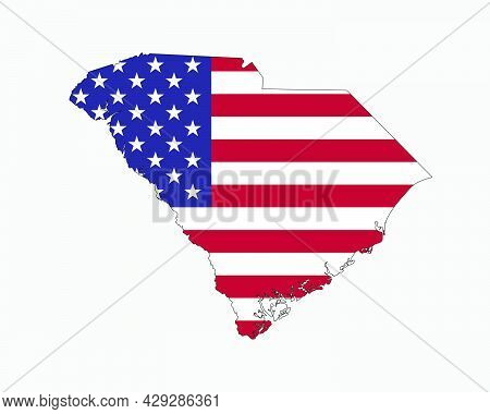 South Carolina Map On American Flag. Sc, Usa State Map On Us Flag. Eps Vector Graphic Clipart Icon