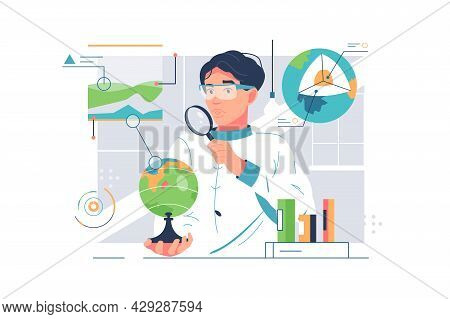 Scientist Man Doing Geology Research. Vector Study Features, Inhabitants Of Earth Flat Style Design.