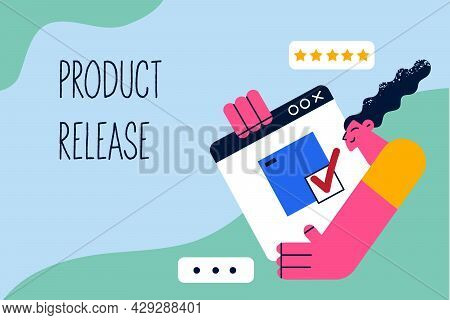 Product Release In Business Concept. Young Smiling Business Woman Cartoon Character With Laptop Scre