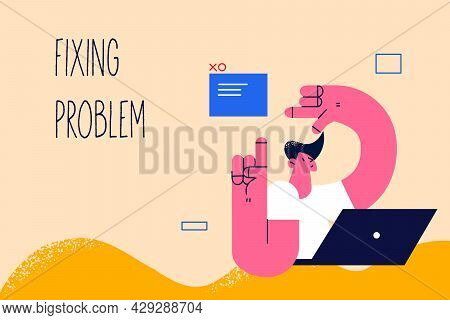 Fixing Problem In Business Concept. Young Positive Businessman Cartoon Character Sitting At Laptop A