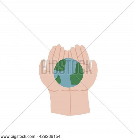 The Child Is Holding The Earth. Childrens Hands Are Holding The Globe. We Did Not Inherit The Planet