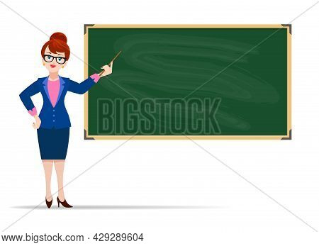 Young Teacher Blackboard. Cheerful Woman Teaching In Front Of Black Board Background Flat Vector Ima