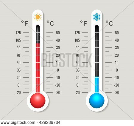 Climate Thermometer. Coldness Hotness Temperature Scale Device Vector Image, Summer Hot Winter Cold