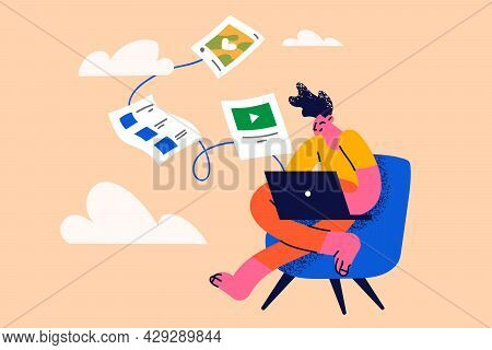 Cloud Backup And Database Synchronization Concept. Man Cartoon Character Worker Sitting With Laptop