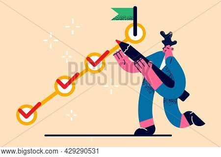 Task Completion, Task Solving, Management Concept. Positive Young Businessman Cartoon Character Stan