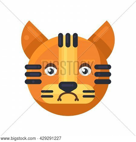 Tiger Sadness Expression Cute Facial Emoji Vector