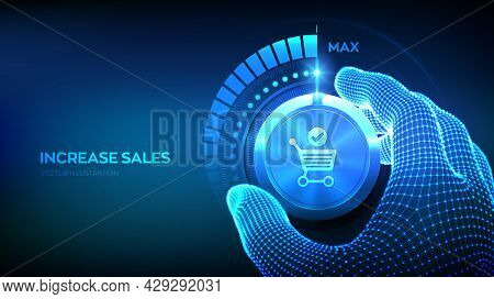 Increasing Sales. Sale Volume Increase Make Business Grow Finance Concept. Boost Your Income. Wirefr