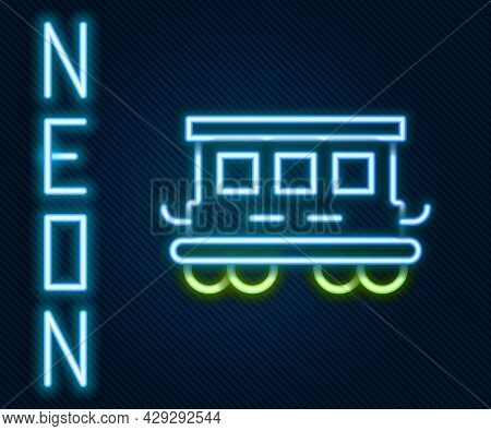 Glowing Neon Line Passenger Train Cars Toy Icon Isolated On Black Background. Railway Carriage. Colo