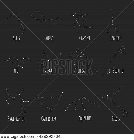 Set Of Twelve Constellations. Zodiacal Circle. White Hand Drawn Stars On Black Background. Starry Sk