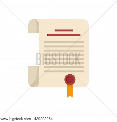 Internship Diploma Icon. Flat Illustration Of Internship Diploma Vector Icon Isolated On White Backg