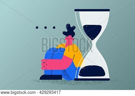 Long Wait, Delay, Appointment Concept. Young Tired Man Cartoon Character Sitting On Floor Waiting Fe
