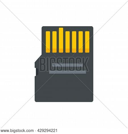 Storage Micro Ssd Card Icon. Flat Illustration Of Storage Micro Ssd Card Vector Icon Isolated On Whi