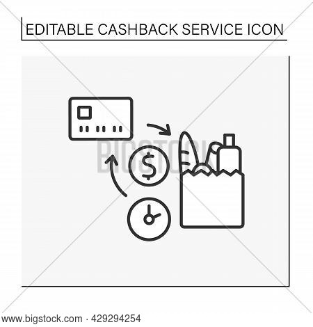 Purchases Line Icon. Temporary Discount, Cashback Reimbursement From Buying Goods In Grocery.cashbac