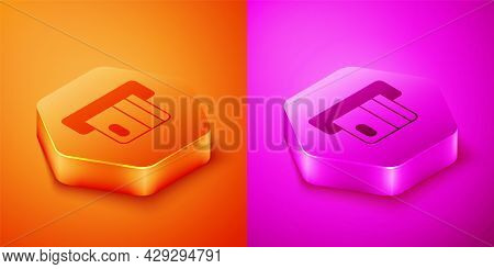 Isometric Credit Card Inserted In Card Reader Icon Isolated On Orange And Pink Background. Atm Cash
