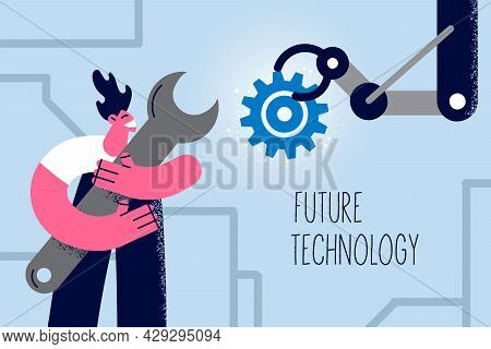Future Technology And Artificial Intelligence Concept. Smiling Man Developer Cartoon Character Stand