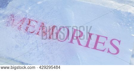 Red Memories Letter On White Paper Freezing In Ice Background And Texture