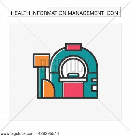 Tomography Color Icon.brain Examination. Cancer Prevention. Modern Medicine Equipment. X-ray Diagnos
