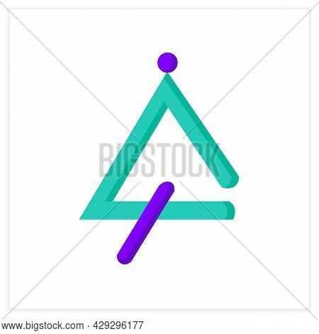 Triangle Flat Icon. Idiophone. Classical Percussion Orchestral Musical Instrument. Classical, Ethnic