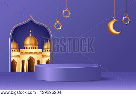 Islamic 3D Display Podium Decoration In Purple Background With Realistic Mosque And Golden Crescent