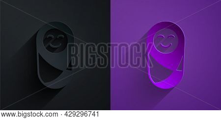 Paper Cut Newborn Baby Infant Swaddled Or Swaddling Icon Isolated On Black On Purple Background. Bab