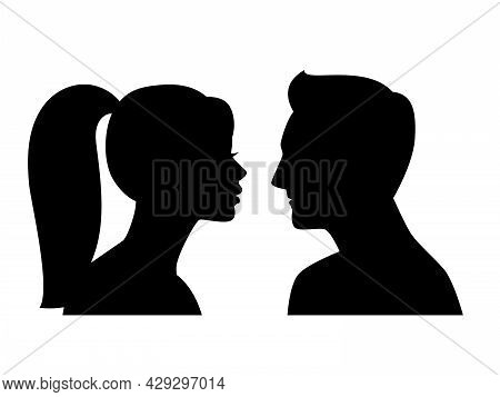 Young Male Female Profiles. Man And Woman Black Side Portraits, Heads Silhouettes Isolated, Adult Be