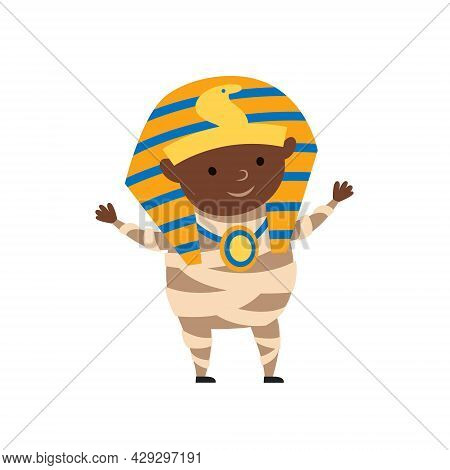 Boy Child In Halloween Costume Of Pharaoh Mummy. Day Of Dead Holiday Decor. Isolated On White Backgr