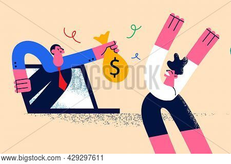Earning In Internet And E-commerce Concept. Male From Laptop Monitor Holding Out Bag Of Money Dollar