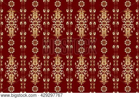 Raster Traditional Orient Ornament. Golden Pattern On Brown, Beige And Red Colors With Golden Elemen