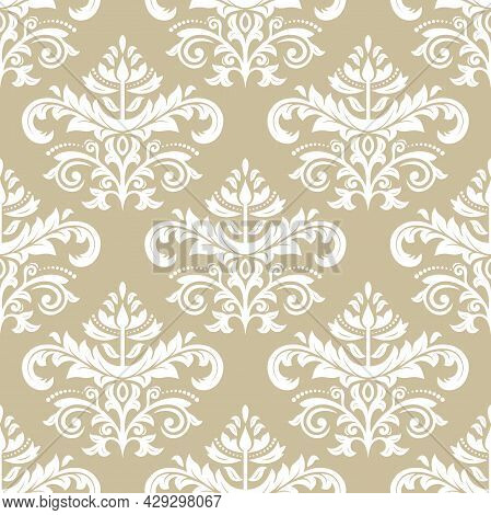 Classic Seamless Vector Pattern. Damask Ornament. Classic Vintage Background. Golden And White Ornam