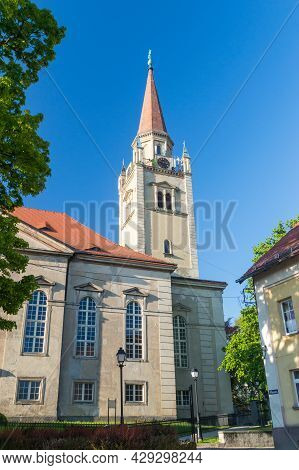 Tower Of Evangelical-augsburg Church Of The Savior On Blue Sky In Walbrzych, Poland.