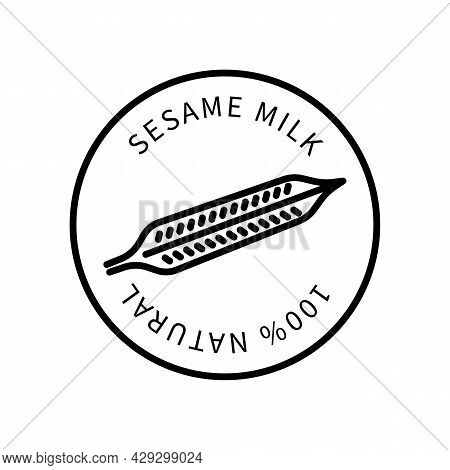 Sesame Seeds Line Icon In A Simple Style. Natural Product Containing Milk. Vector Sign In A Simple S