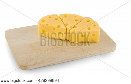 Emmental Cheese, Swiss Cheese, Isolated On White Background