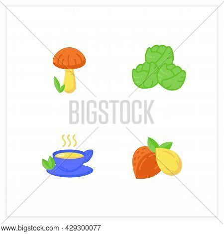 Superfoods Flat Icons Set. Green Tea, Brussels Sprouts, Shiitake Mushroom, Almonds. Vegetarian, Orga