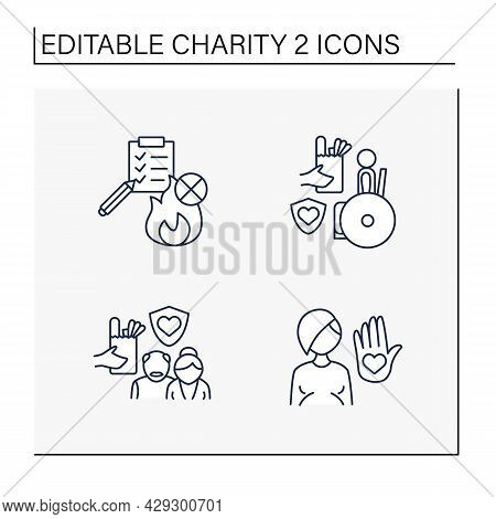 Charity Line Icons Set. Fire Prevention, Senior Citizen, Disabled And Abortion Charities. Volunteeri