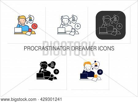 Procrastinator Dreamer Icons Set. Dream About Large, Unattainable Goals. Do Not Execute Scheduled Ta