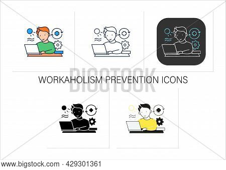 Workaholic Icons Set. Workaholism Prevention.conduct Rules. Reasonable Time Allocation. Overworking