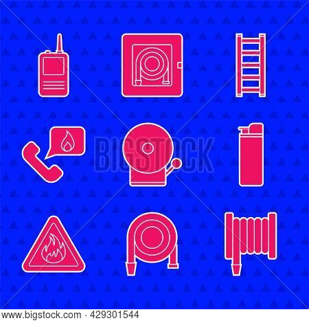 Set Ringing Alarm Bell, Fire Hose Reel, Lighter, Flame Triangle, Telephone With Emergency Call 911,