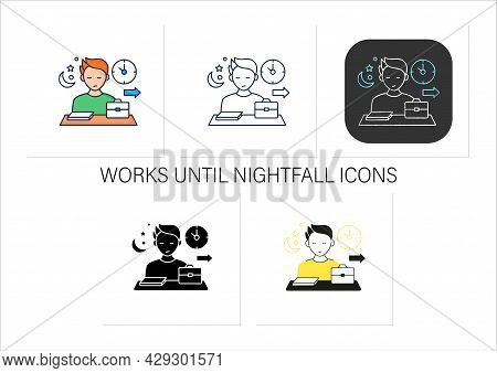 Workaholic Icons Set.last Leave Office. Works Until Nightfall. Man At Laptop. Hard Working.overworki