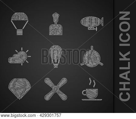 Set Hot Air Balloon, Plane Propeller, Coffee Cup, Parachute, Sun And Cloud Weather, Airship And Box