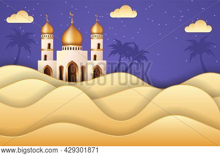Eid Mubarak Background In Paper Cut Style With A Mosque In The Middle Of Desert. Islamic Background